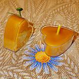 Восковая чайная свеча Коралловая Валентинка 14г в пластиковом прозрачном контейнере, пчелиный воск, фото 7