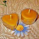 Восковая чайная свеча Коралловая Валентинка 14г в пластиковом прозрачном контейнере, пчелиный воск, фото 8