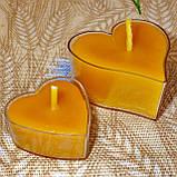 Восковая чайная свеча Коралловая Валентинка 14г в пластиковом прозрачном контейнере, пчелиный воск, фото 9