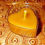 Восковая чайная свеча Коралловая Валентинка 14г в пластиковом прозрачном контейнере, пчелиный воск, фото 10