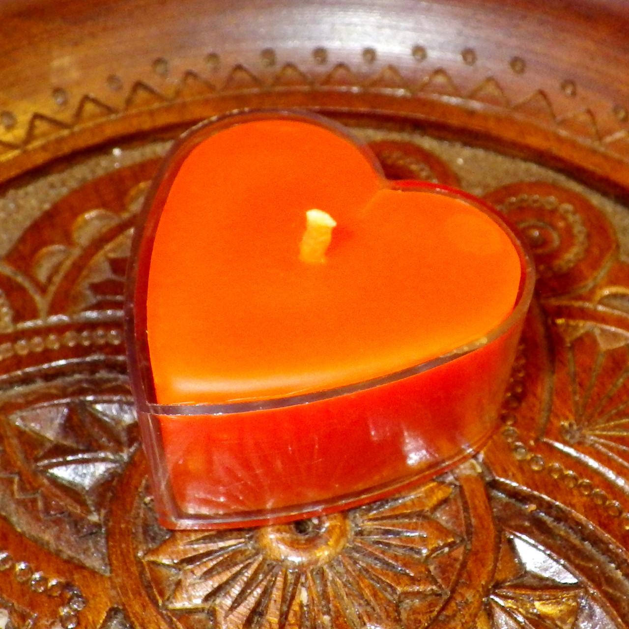 Восковая чайная свеча Коралловая Валентинка 14г в пластиковом прозрачном контейнере, пчелиный воск