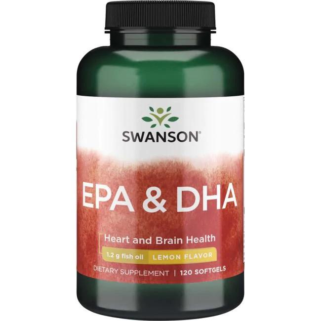Swanson EPA/DHA  омега 3 рыбий жир 1200 мг с лимоном, 120  капсул