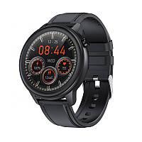 Умные часы Lemfo F81 Leather с тонометром и пульсоксиметром (Черный), фото 1