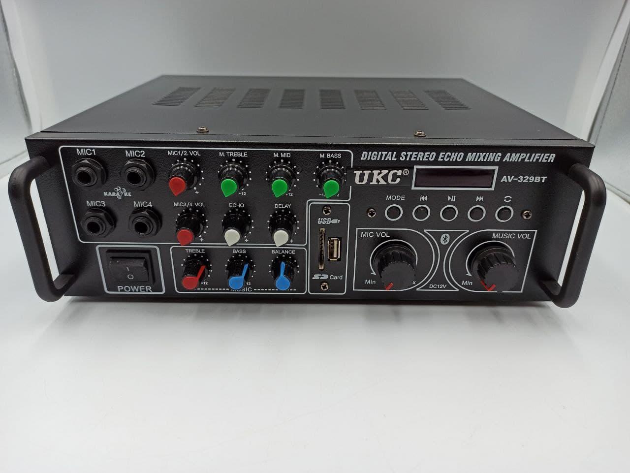 Усилитель звука UKC AMP AV-329BT 2*120W c Karaoke и Bluetooth