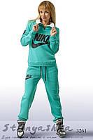 Зимний женский теплый спортивный костюм Найк ментол, фото 1
