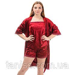Жіночий велюровий комплект, піжама і пеньюар р. 42,44,46,48,50,52 бордо