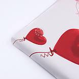 """Ранфорс шириной 240 см """"Воздушные шарики-сердечки"""" красные на белом (№3235), фото 4"""
