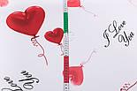 """Ранфорс шириною 240 см """"Повітряні кульки-сердечка червоні на білому (№3235), фото 2"""
