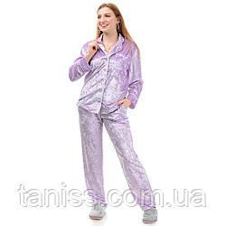 Жіноча велюрова піжама брючна, на гудзиках, великого розміру, р. 42,44,46,48,50,52,54,56 св. бузок