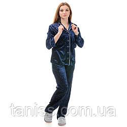 Жіноча велюрова піжама брючна, на гудзиках, великого розміру, р. 42,44,46,48,50,52,54,56 синя