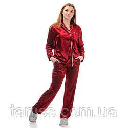 Жіноча велюрова піжама брючна, на гудзиках, великого розміру, р. 42,44,46,48,50,52,54,56 бордо