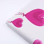 """Ранфорс шириной 240 см """"Воздушные шарики-сердечки"""" розовые на белом (№3236), фото 3"""