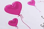 """Ранфорс шириною 240 см """"Повітряні кульки-сердечка"""" рожеві на білому (№3236), фото 2"""