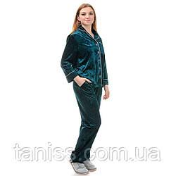 Жіноча велюрова піжама брючна, на гудзиках, великого розміру, р. 42,44,46,48,50,52,54,56 зелена