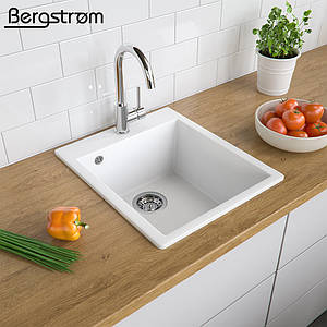 Гранітна кухонна мийка 500x425, Bergstroem, біла