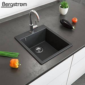 Гранітна кухонна мийка 500x425, Bergstroem, чорна