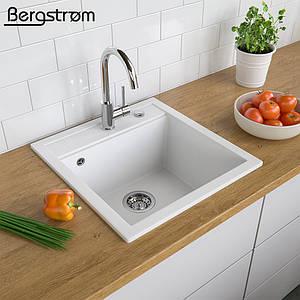 Гранітна кухонна мийка 510x490, Bergstroem, біла
