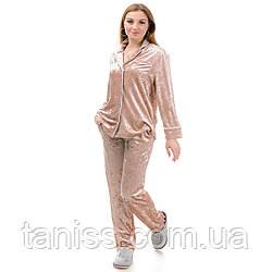 Жіноча велюрова піжама брючна, на гудзиках, великого розміру, р. 42,44,46,48,50,52,54,56 св беж