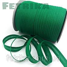 Косая-бейка хлопковая зеленая, 15 мм