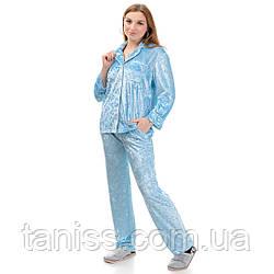 Жіноча велюрова піжама брючна, на гудзиках, великого розміру, р. 42,44,46,48,50,52,54,56 св блакитний