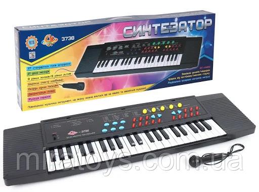 Пианино-синтезатор 3738 с микрофоном, сеть/батарейки, 44 клавиши