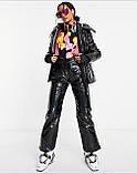 Костюм зимовий чорний жіночий куртка  та штани лижні Монклер, фото 4