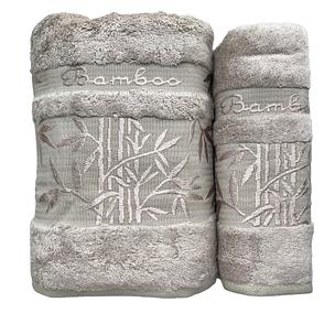 Набор полотенец Cestepe Bamboo 50х90, 70х140 серо-бежевый, фото 2