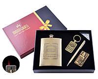 Подарочный набор с флягой Jack Daniels ( фляга,зажигалка, брелок, ручка)