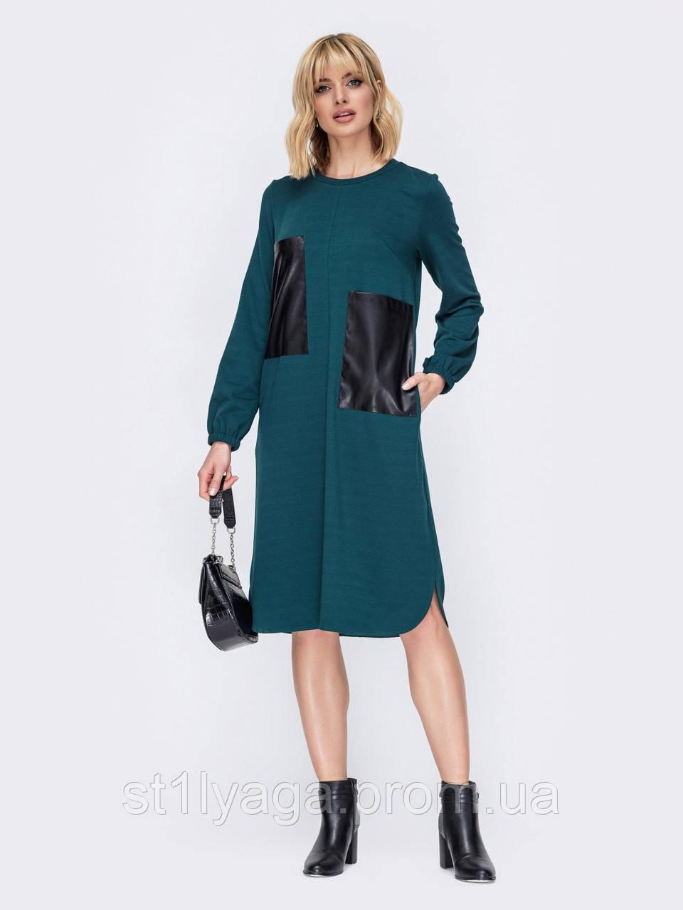 Платье миди прямого кроя с накладными карманами из эко-кожи