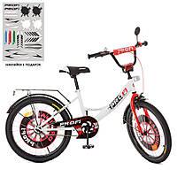 Велосипед подростковый для мальчика 7-12 лет 20 дюймов черно-бело-красный, свет, звонок, зерк XD2045