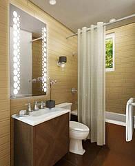 "Зеркало для ванной комнаты с LED подсветкой 10Вт 683*800h с рисунком ""PARIS"" D14 + кнопка"