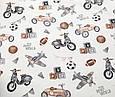 Сатин (хлопковая ткань) Ретро машины бежевые на молоке, фото 2