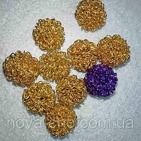 Декор метал 17 мм Упаковка 10 шт Колір золотий і фіолетовий