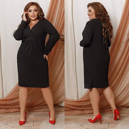 """Стильное женское платье с V-образным вырезом, ткань """"Креп-дайвинг"""" 64, 68 размер 64, фото 2"""