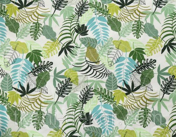 Сатин (хлопковая ткань) листья папоротника на белом