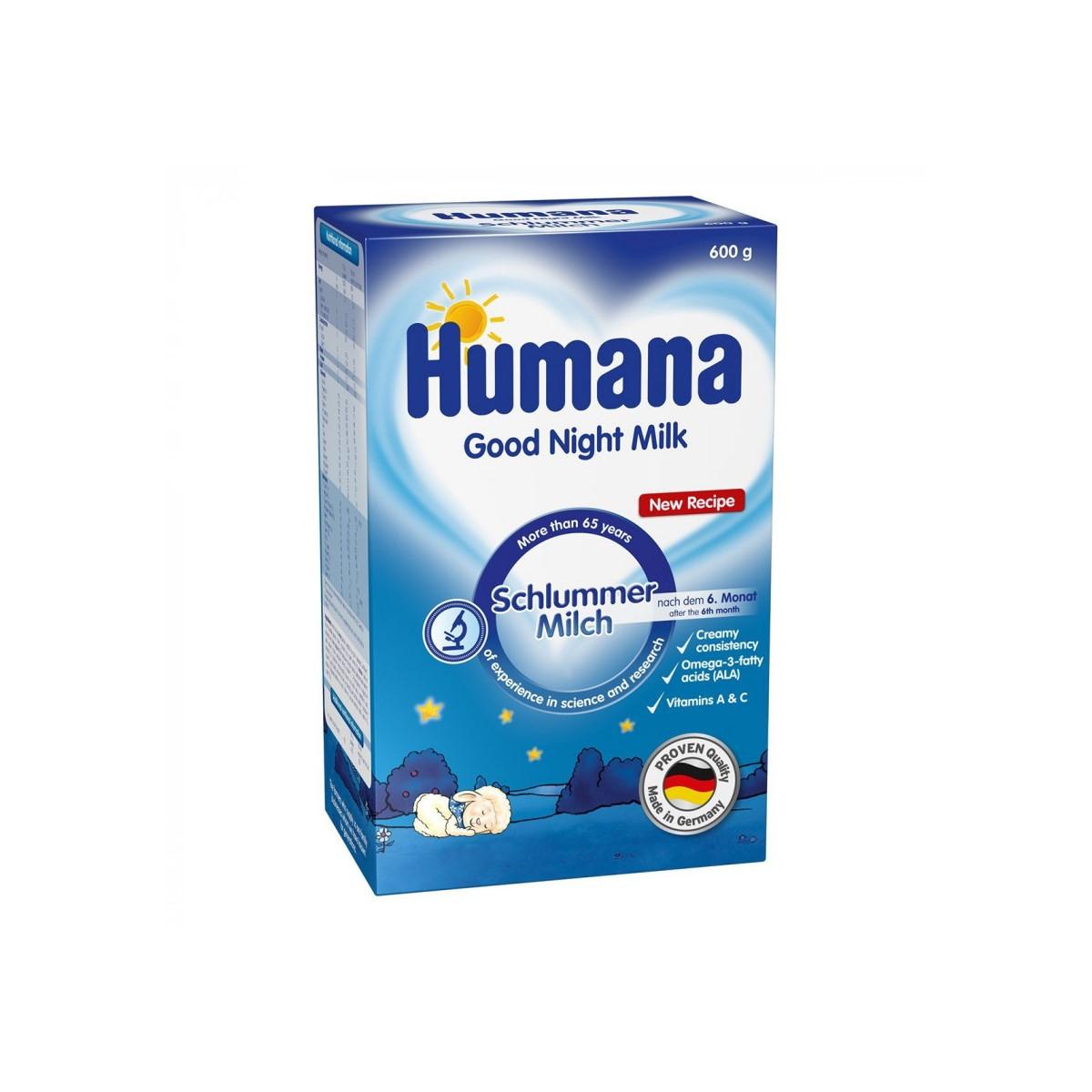 "Молочна суміш Humana Schlummermilch ""Солодкі сни з Омега-3, Омега-6 жирними кислотами"", 6+, 600г"