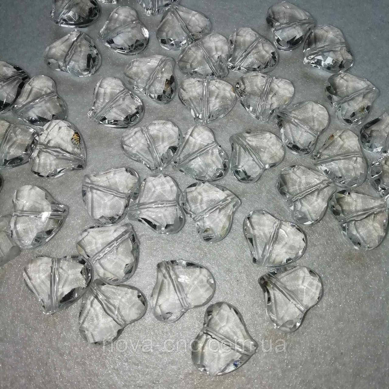 """Бусины акрил  """"Сердца"""" прозрачный  19 мм 500 грамм"""