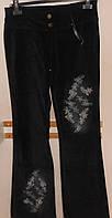 Брюки-клеш  бархатные черные с вышивкой Rinascimento, фото 1