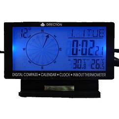 Часы автомобильные ZIRY CD-60 5-in-1 время, дата, компас, температура наруж/внутр