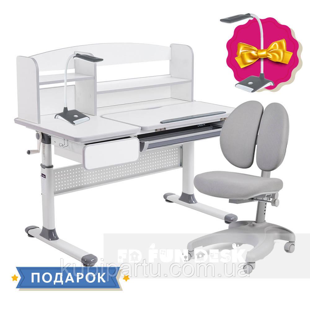 Комплект для школярів парта Cubby Rimu Grey + ергономічне крісло FunDesk Solerte Grey