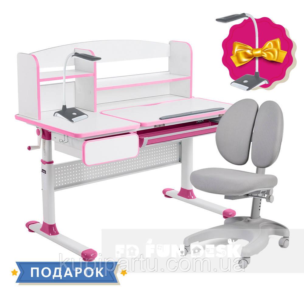 Комплект для принцеси 👸 парта Cubby Rimu Pink + ергономічне крісло FunDesk Solerte Grey