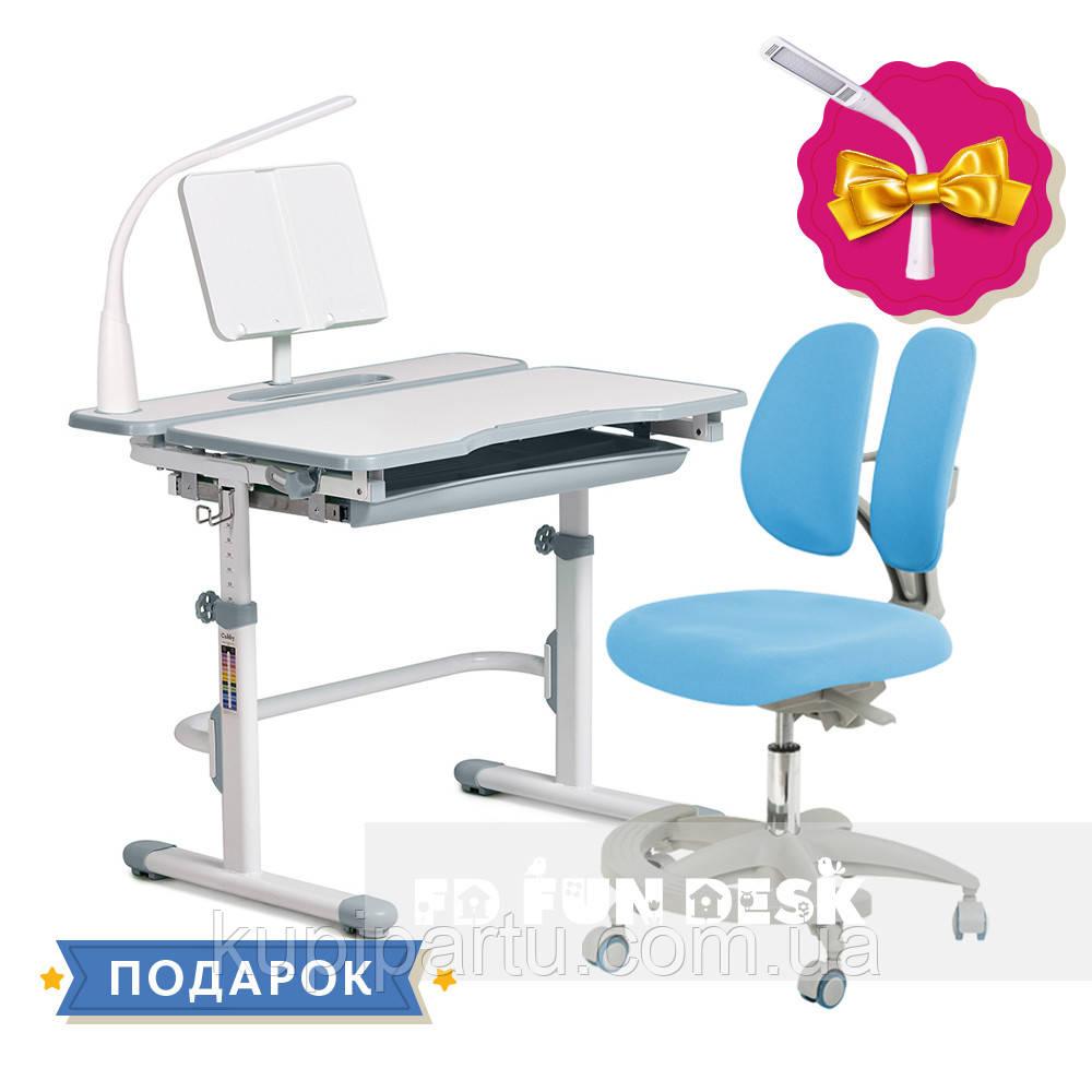 Комплект для школяра зростаюча парта Cubby Fressia Grey + підліткове крісло для дому FunDesk Primo Blue