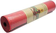 Коврик для йоги и фитнеса Premium TPE+TC 183х61см 6мм черно-красный