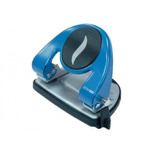 Дирокол до 20 л., Economix, метал. корпус, з лінійкою, синій (E40117)