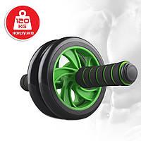 Фитнес ролик-тренажёр для пресса с двойными колёсами Double Wheel ABS Health Abdomen Round с ковриком