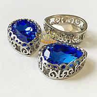 Стразы капли в ажурной серебряной оправе, Sapphire 13х18