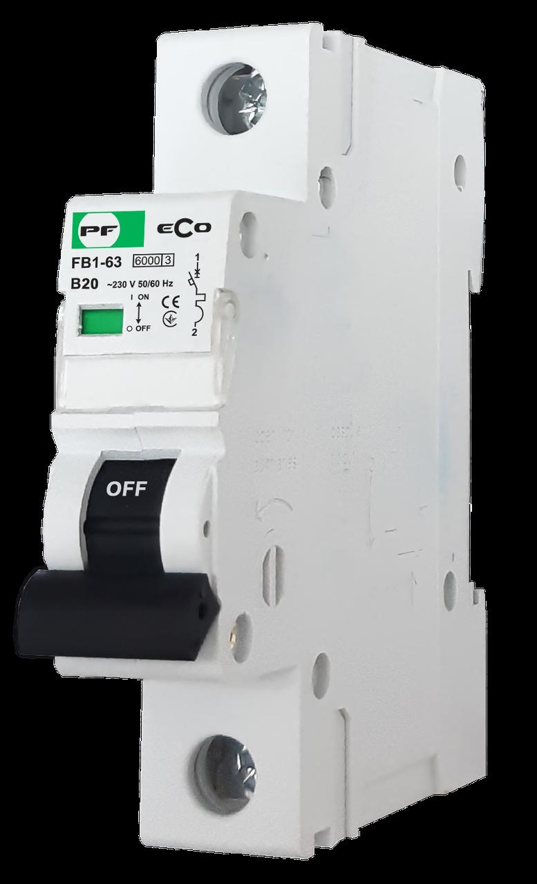 """Модульний автоматичний вимикач FB1-63 ECO 6kА    """"В""""  1P  20А"""