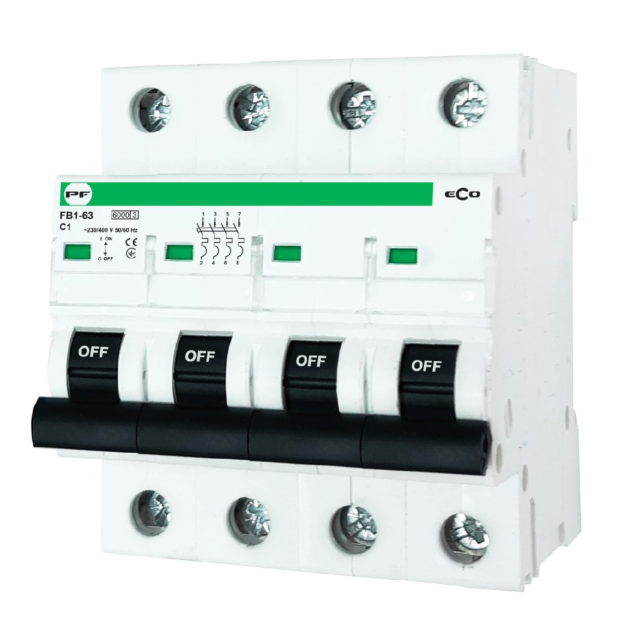 """Модульний автоматичний вимикач FB1-63 ECO 6kА    """"C""""  4P  16А"""