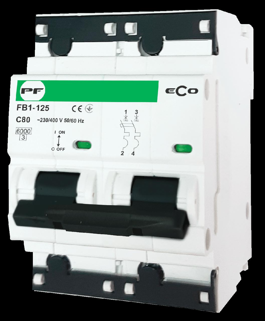 """Модульний автоматичний вимикач FB1-125 ECO 10kА    """"C""""  2P  100А"""