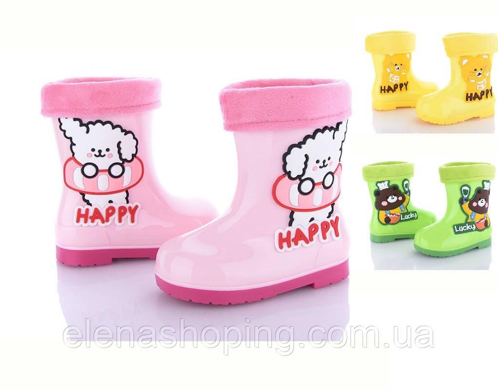 Яскраві гумові чобітки для дівчинки (р23-27)
